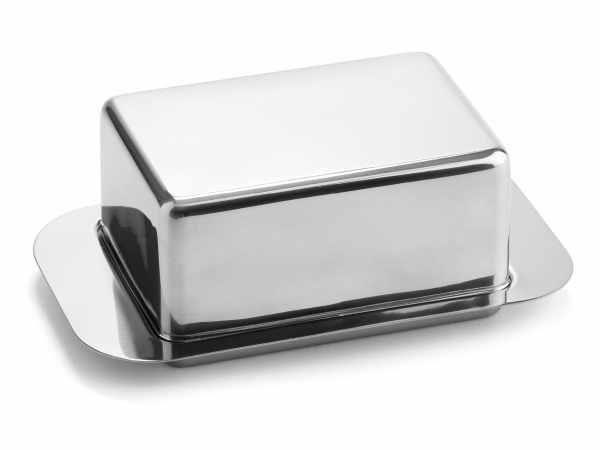 Butterdose mit Schnittrand Edelstahl