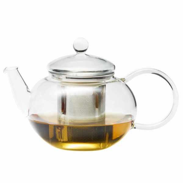 kleine Teekanne aus Glas mit Edelstahlfilter 0.8 Liter