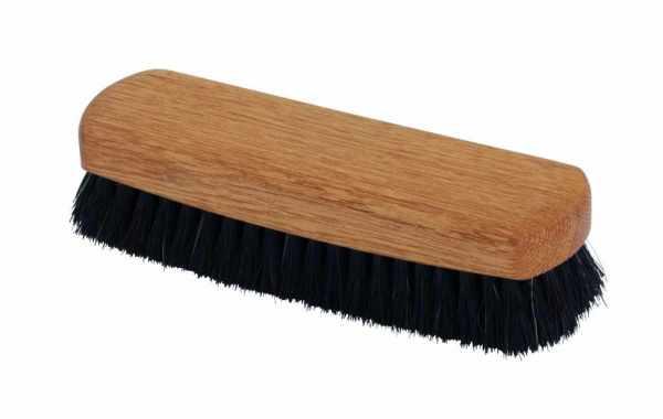 Schuhglanzbürste Eichenholz schwarzes Rosshaar