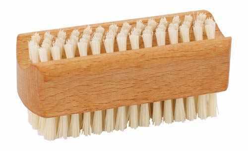 Nagelbürste aus geöltem Buchenholz harte und weiche Borsten