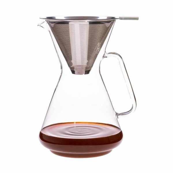 Kaffeebereiter aus Glas Konisch mit Edelstahlfilter