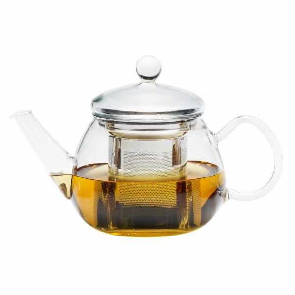 Single Teekanne aus Glas mit Edelstahlfilter