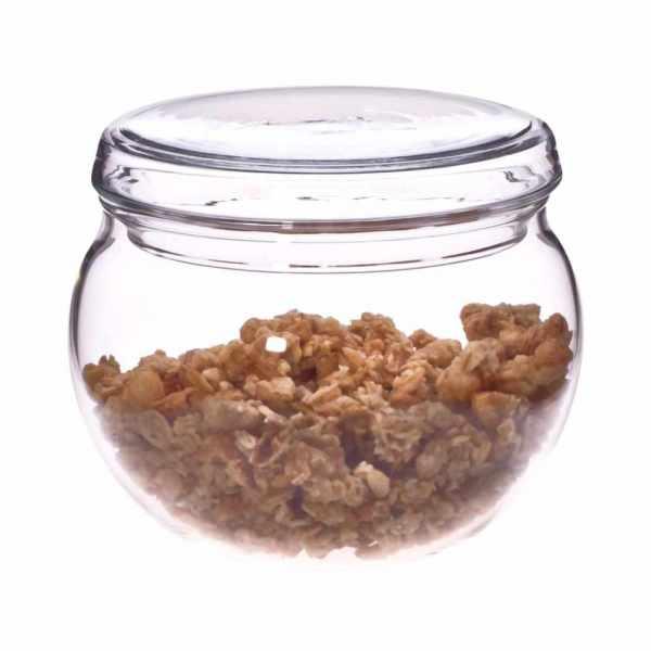 Zuckerdose aus Glas mit Deckel, kugelförmig, spülmaschinenfest