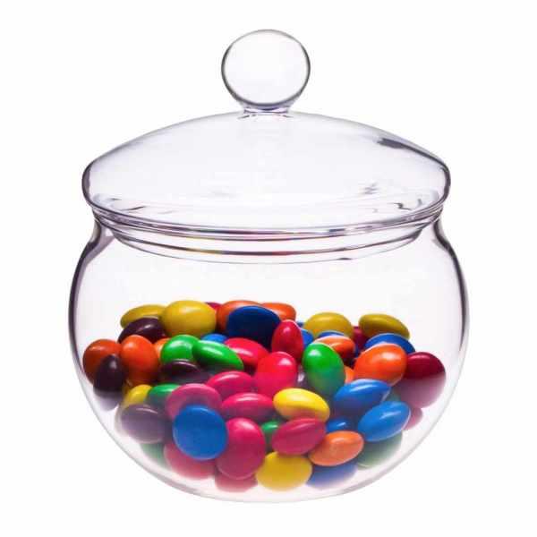 Zuckerdose aus Glas mit Deckel Kugelform Miko