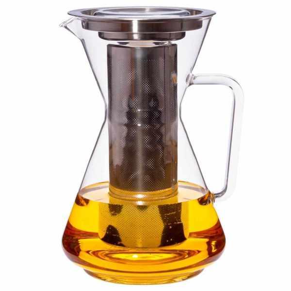 Teekanne aus Glas mit Edelstahlfilter