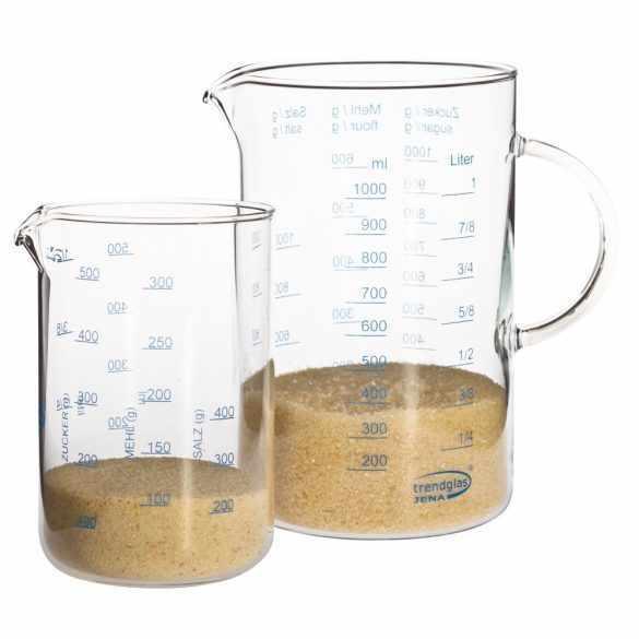 Messbecher Set aus Glas 0,5 & 1,0 Liter