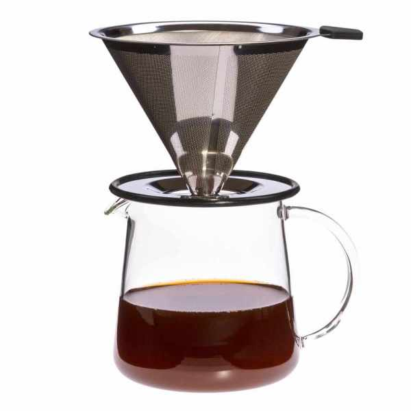 Kaffeezubereiter aus Glas und Edelstahl hitzebeständig für 3 Tassen