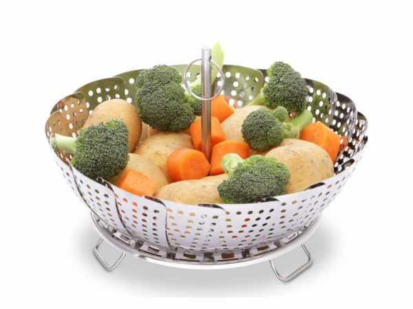 Gemüsesieder aus Edelstahl zum schonenden Dämpfen von Gemüse, Fleisch und Fisch