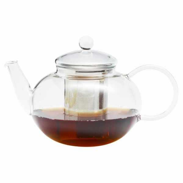 Teekanne aus Glas mit Edelstahlfilter 1.2 Liter